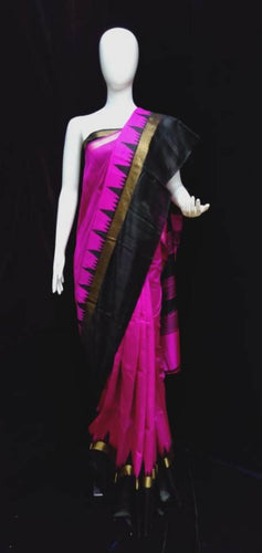 Raw Silk Saree Rani Black Combination with Temple Border