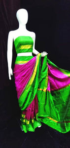 Raw Silk Saree Rani Green Combination with Temple Border