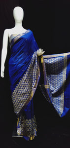 Raw Silk Blue Baige Golden Weaving Border