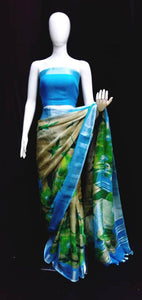 Digital Printed Linen Saree Blue Pallu