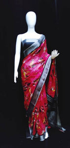 Digital Printed Linen Saree Pink Base
