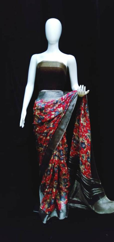 Digital Printed Linen Saree Red Base