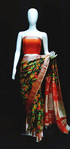 Digital Printed Linen Saree Multicolor Base