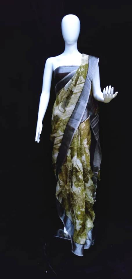 Digital Printed Linen Saree Black Olive