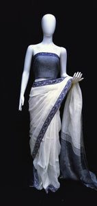 Digital Printed Off White Linen Saree Blue Weaving Border