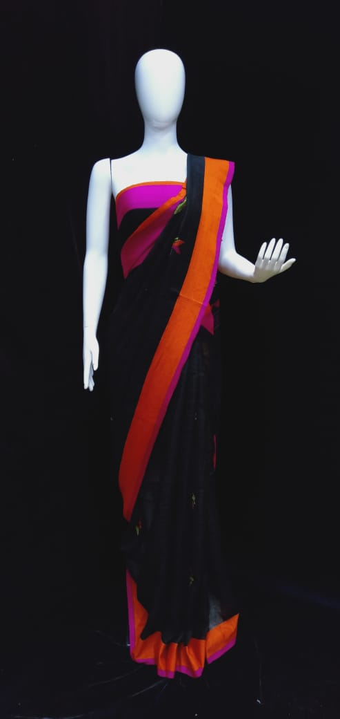 Digital Printed Linen Saree Black Base Orange Pink Border