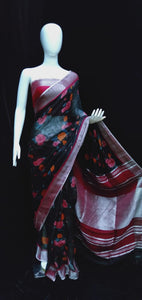 Digital Printed Linen Saree Black Base Multicolor