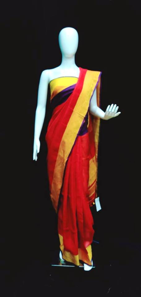 Digital Printed Red Linen Saree