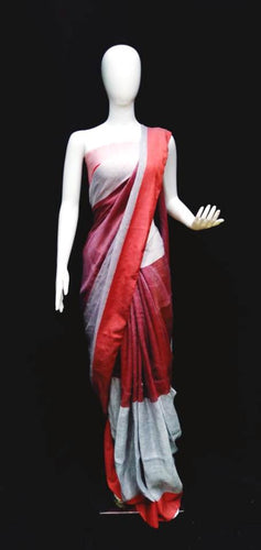 Digital Printed Grey & Red Linen Saree