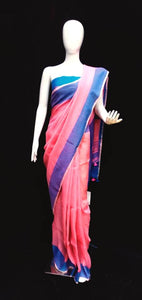 Linen Saree Peach Blue Combination