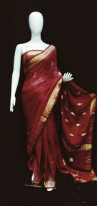 Maroon Linen Saree with Antique Gold Color Weaving