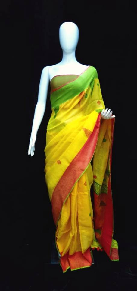Linen Jamdani Saree Yellow Base