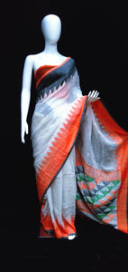 Linen Jamdani Saree White Base Orange Grey Pallu