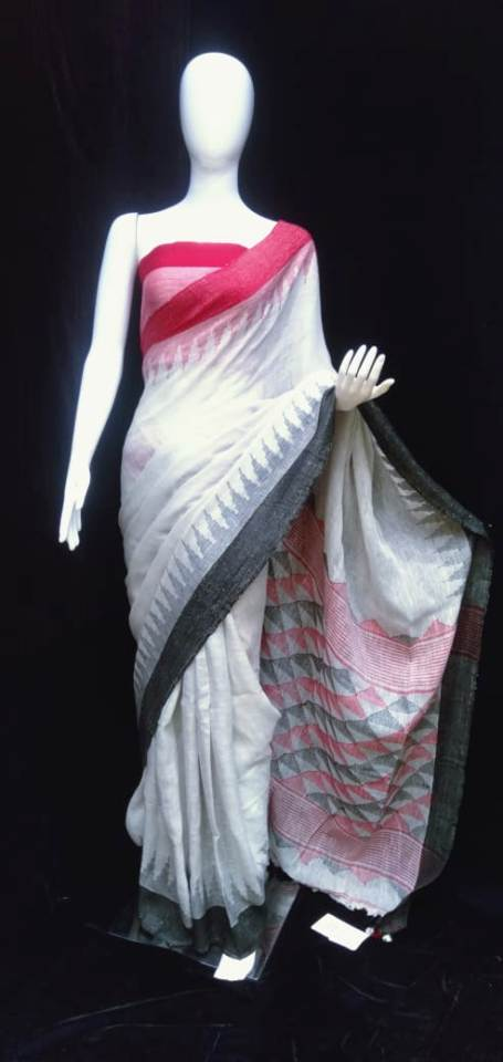 Linen Jamdani Saree White Base Pink Grey Pallu