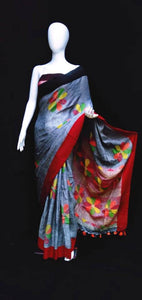 Linen Jamdani Saree Grey Base Red & Black Pallu