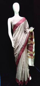 Off White Base Tasar Silk Saree
