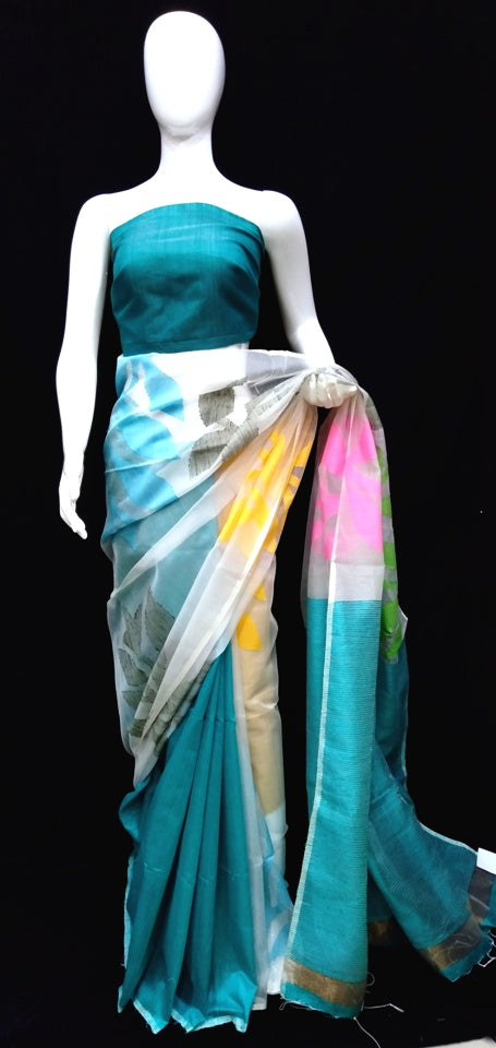 Multicolor Tasar Silk Saree