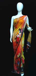 Red - Printed Georgette Multicolor Saree