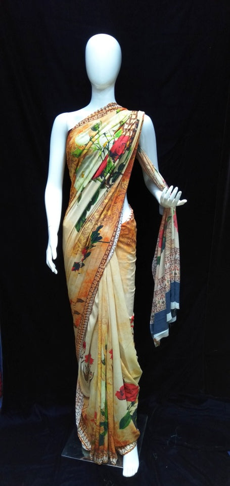 Yellow Base - Printed Georgette Saree