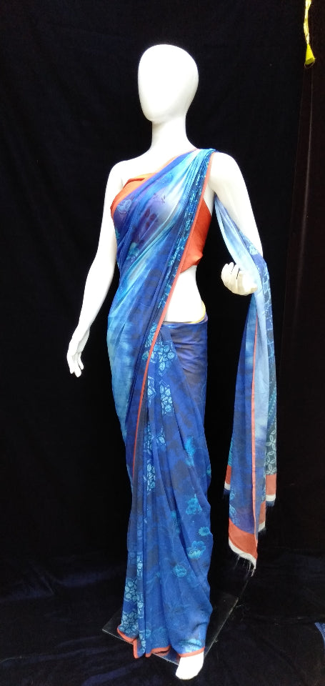 Blue - Printed Georgette Saree