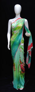 Green - Printed Georgette Saree