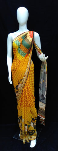Yellow - Printed Georgette Saree