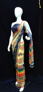 Beige - Printed Georgette Saree