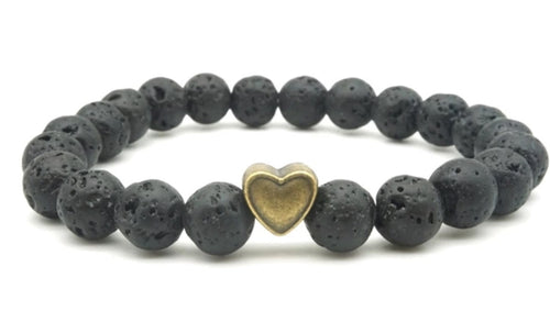 Bronze Heart Lava Stone Stretch