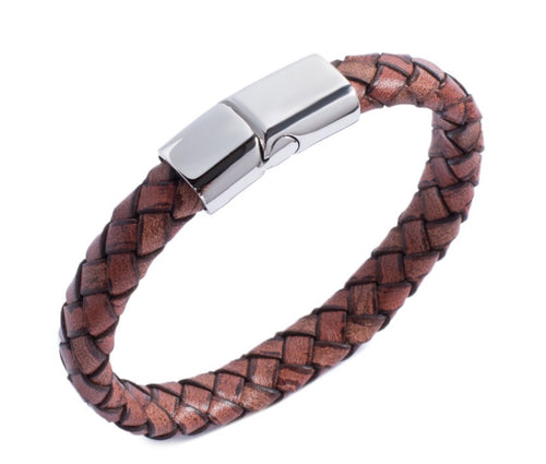 Men's Braided Genuine Leather Bracelet - Brown