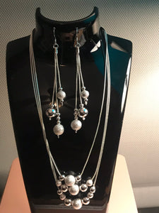 Silver Chain and Balls Necklace Set