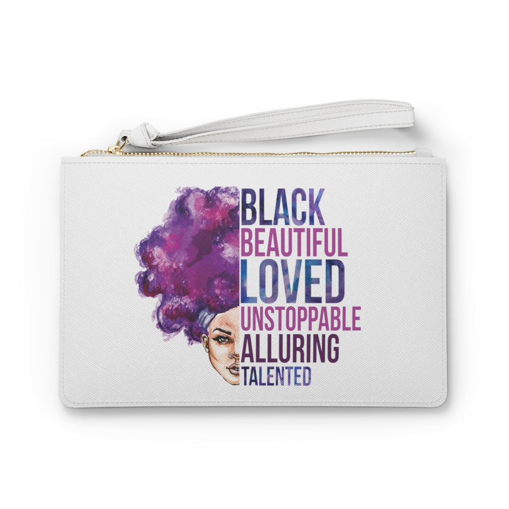 Blacked Beautiful Loved Clutch Bag