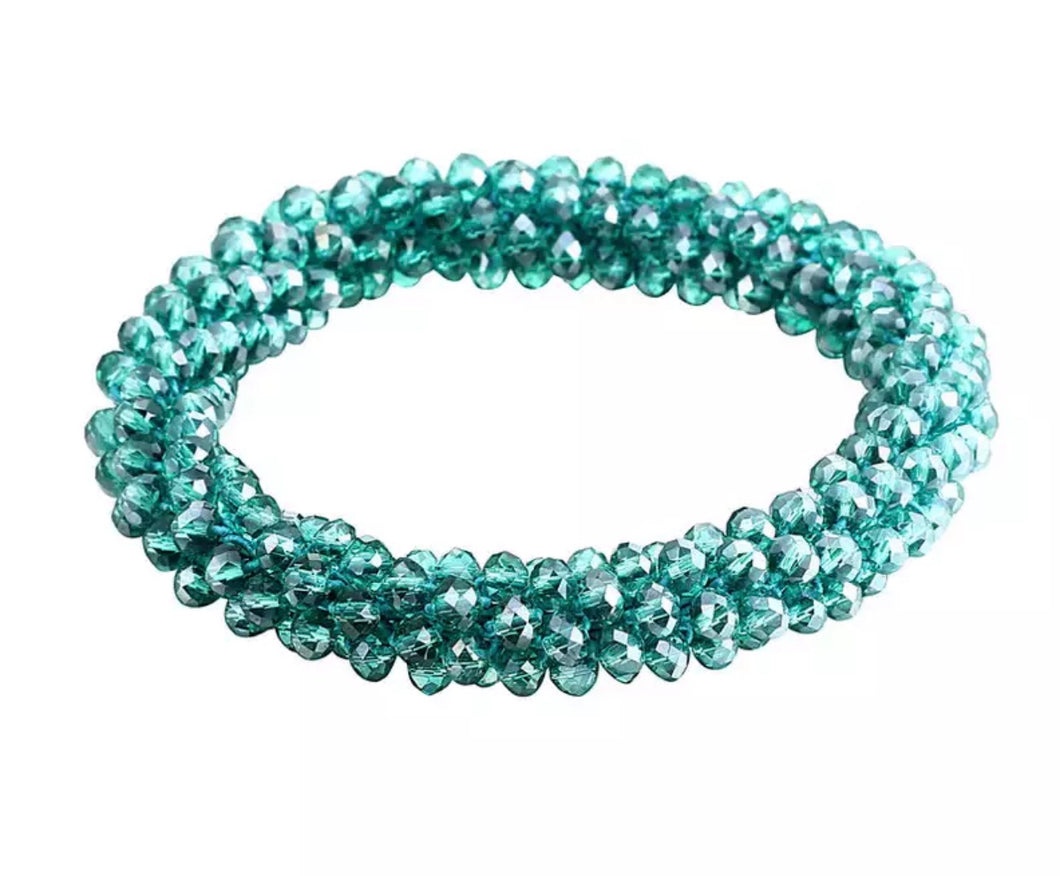 Beaded Acrylic Stretch Bracelet - Six Available Colors
