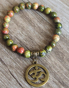 Mala Beaded Bracelet with Lotus Charm