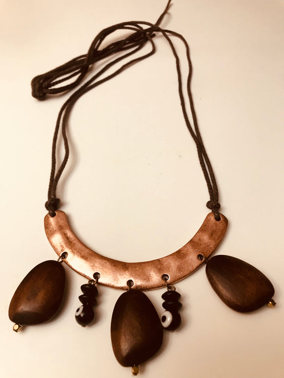 Wood and Copper Necklace - Mseljoy Accessories