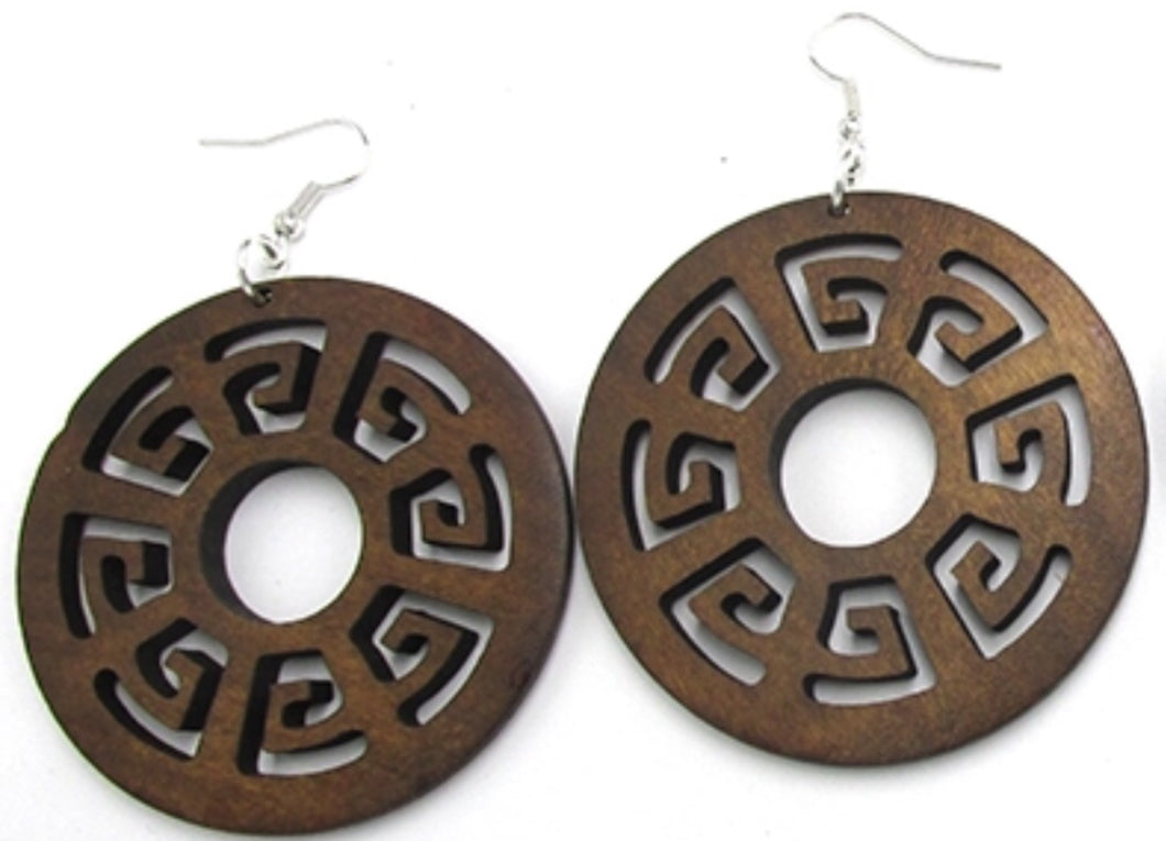 FTC Round Etched Wood Earrings - Mseljoy Accessories
