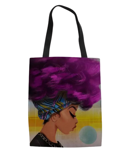 Woman in High Purple Puff Tote Bag & Earring Set