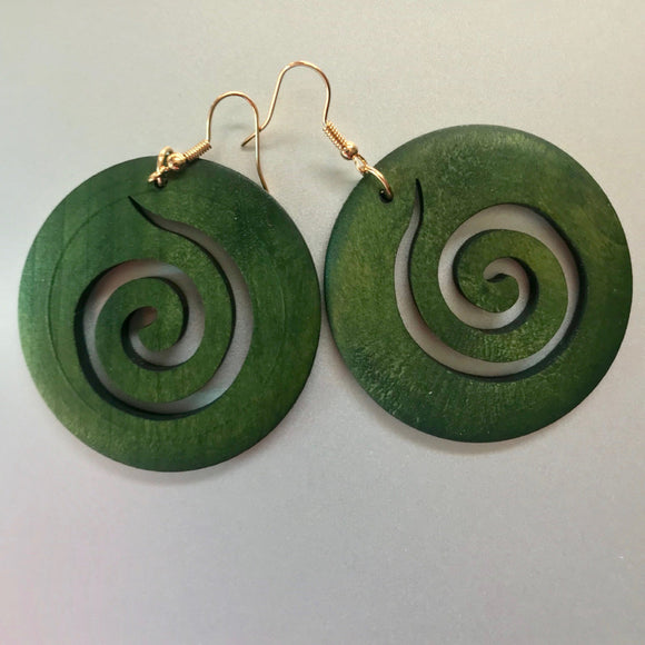 Excellently crafted circular wood earrings.