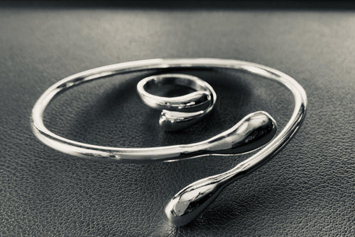 Classic Sterling Silver Wrapped Bangle & Ring Set - Mseljoy Accessories
