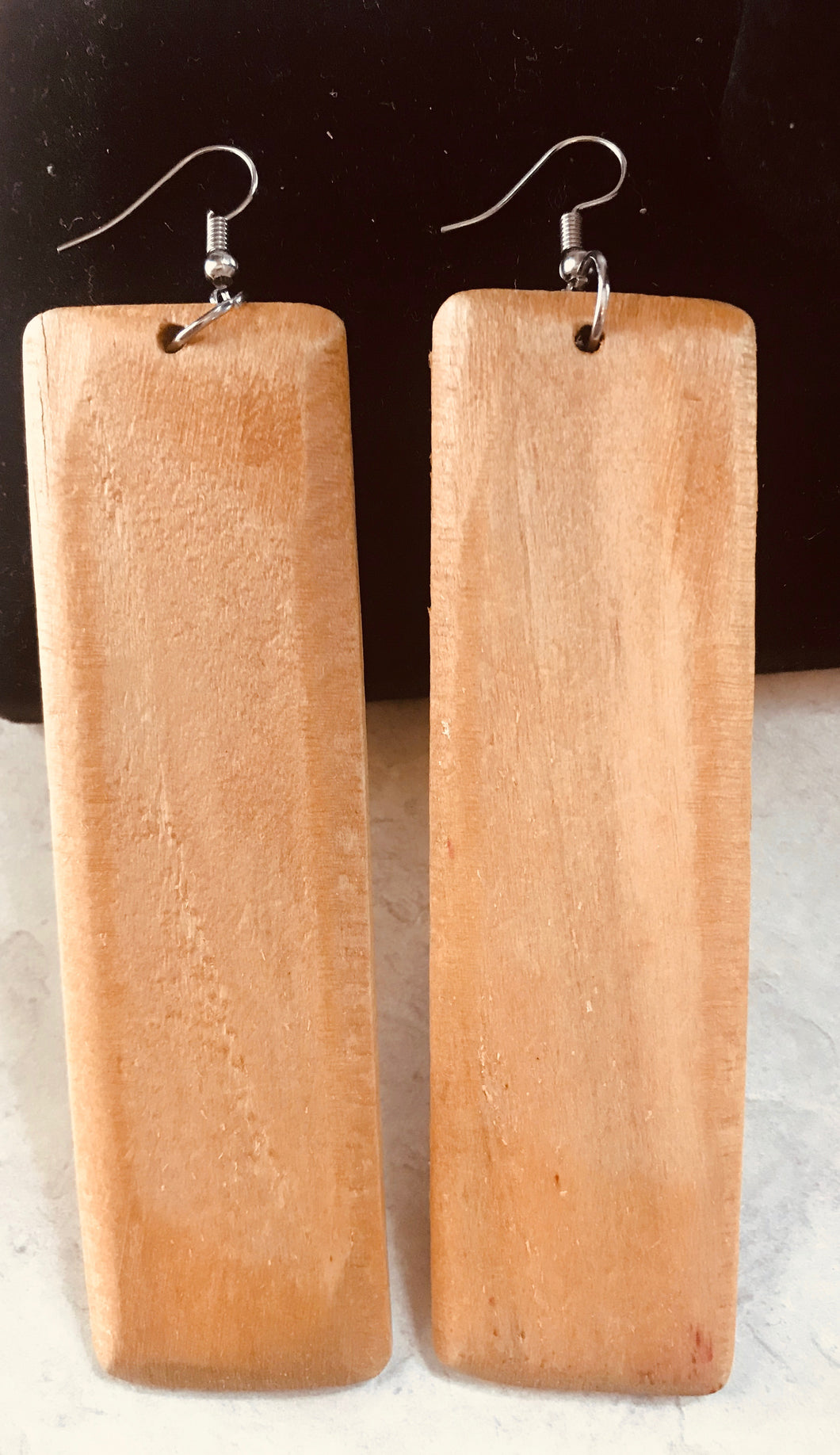 Wood Rectangle Earrings - Three Colors Available
