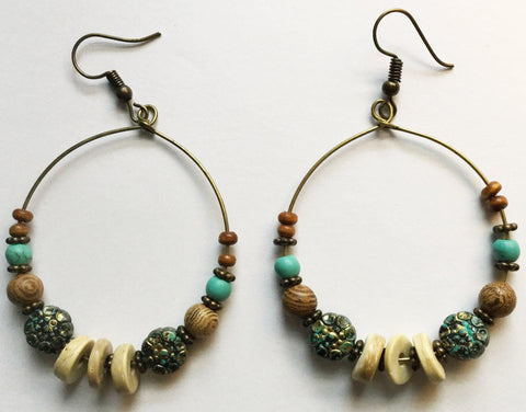 Beads and Wood Hoops - Mseljoy Accessories