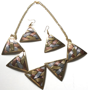 Tri-color Metal Necklace Set - Triangle Shape