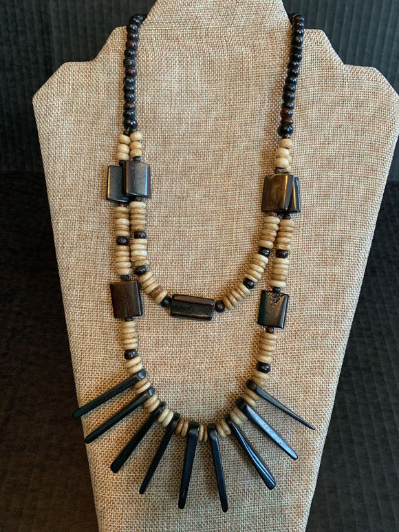Wood Necklace with Horned Ends - Mseljoy Accessories