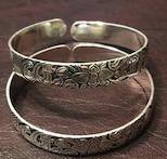 Sterling Silver Bangle with Etching - Mseljoy Accessories