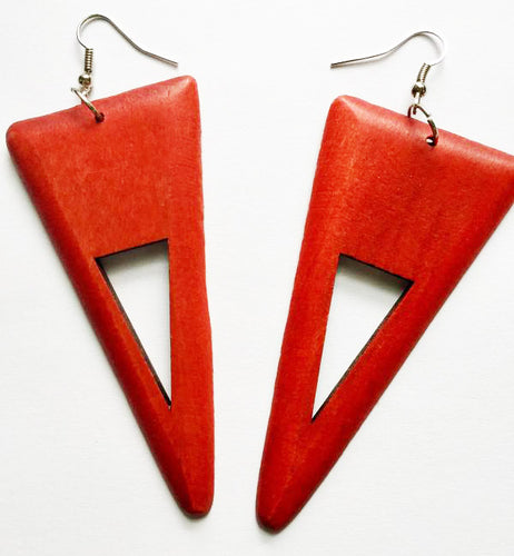 Triangle Shaped Wood Earrings - Various Colors