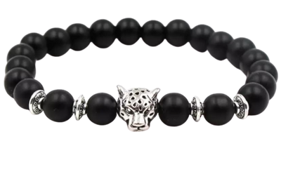 Mens Black Agate Beaded Silver Tiger Head - Mseljoy Accessories