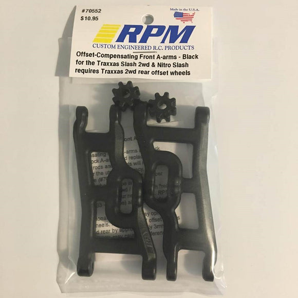 70552 Traxxas Slash 2WD Offset Compensating Front Arms Black