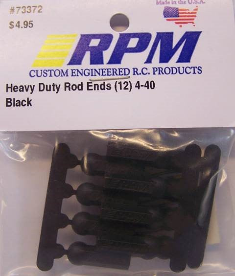 73372 RPM Heavy Duty Rod Ends (12) 4-40 Black