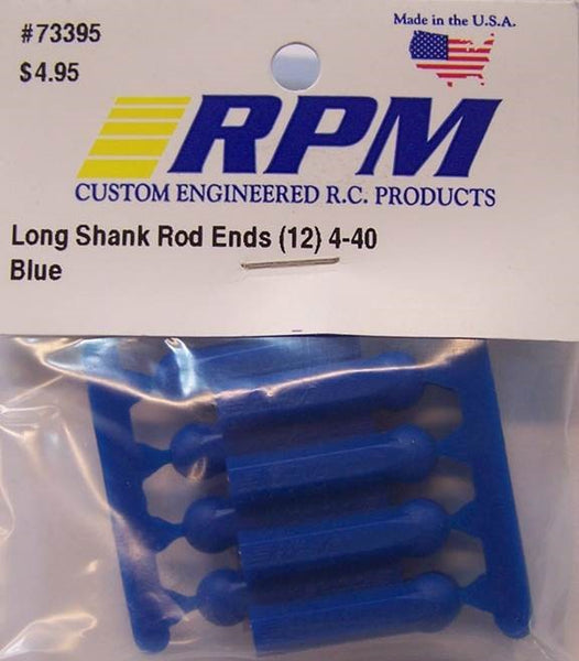 73395 RPM Long Shank Rod Ends (12) 4-40 Blue