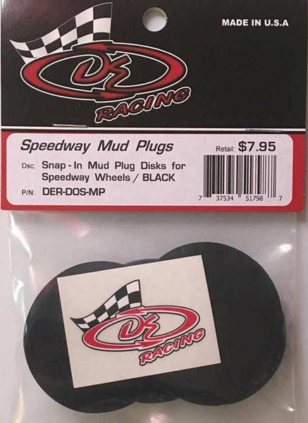 DER-DOS-MP Mud Plugs for DE  Speedway Short Course Wheels Black