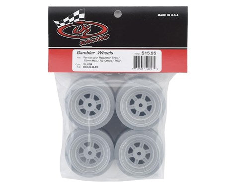 DER-GLR-AS DE Racing Gambler Rear Late Model Wheels (AE/TLR) (Silver)